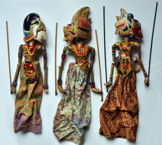 Three wayang golek puppets - Java - Indonesia