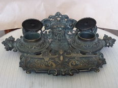 Bronze desk inkwell pen holder - Italy - probably second half of the 19th century