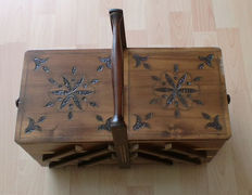 Antique sewing box, sewing basket, wood, vintage, Germany, 20. century