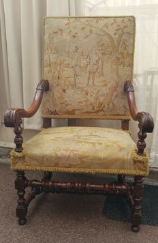 Antique chair with embroidered seating, fabric rear of backrest, 2nd half of 19th century