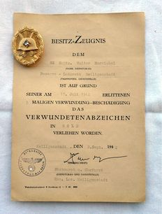 Purple Heart in Gold - 3rd Form (1939) - WWII - Germany - 3rd Reich with certificate of ownership
