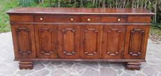 Renaissance style walnut sideboard with four doors and two long central drawers - Bassano, Vicenza (Italy), approx. 1935
