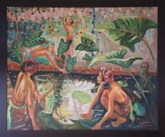 Large oil on canvas - Impressionist scene: women at the pound - Bali - Indonesia