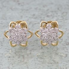 Yellow Gold 0.74 ct. Diamond Earrings