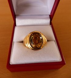 18Kt gold ring with citrine - size 52 (12)