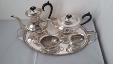 harts S the sheffield england silversmiths EPNS A1 coffee/tea pots set& large silver plated serving tray by george muir, glasgow made in england&scotland.