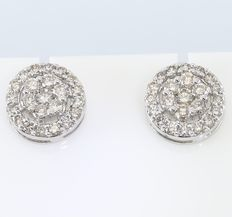1.44 ct Diamond earrings made of Hallmarked 14 kt Yellow gold - 11 mm