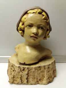 A polychrome painted gypsum bust of a young lady, early 20th century