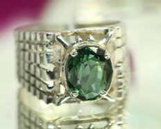 925 silver men's ring set with tourmaline – size 65