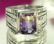 925 silver men's ring set with ametrine - size US 66
