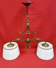 Copper two-light hanging lamp, richly decorated, second half 20th century, Belgium.