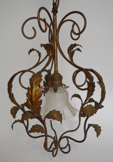 A metal chandelier, probably from France, early 20th century
