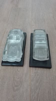 Mercedes-Benz 300 SL and E190 models - Magic Chrystall lead crystal model 1:24 - by Hofbauer - 20 x 8.5 x 6 cm