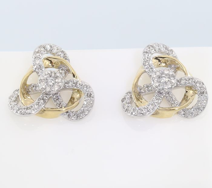 IGI Certified Yellow Gold 0.80 ct. Diamond Earrings