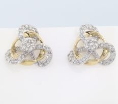 IGI Certified Yellow Gold 0.80 ct. Diamond Earrings - no reserve price