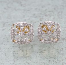 IGI Certified Yellow Gold 0.91 ct. Diamond Earrings