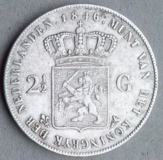 The Netherlands – 2½ guilder 1846 mint master mark lily, Willem II – silver