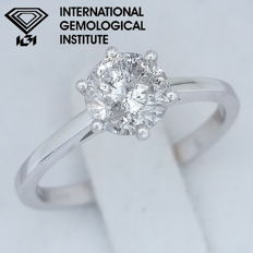 IGI 0.90 ct Round Brilliant Cut Diamond  Ring -14 kt / 585 white gold, size 51.5 / 16.40 mm