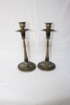Pair of brass candlestick - France - 19th century