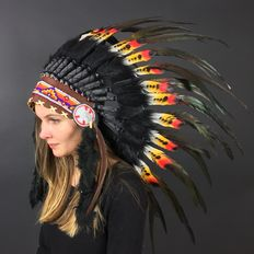 Indian headdress of real feathers and natural materials - 21st century