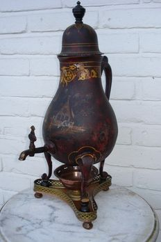 Pewter figural faucet jug  with original old painting-Holland-19th century