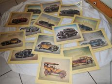 Fifteen ARAL Advertisement Pictures of Cars/Classic Cars in a Plastic Sleeve