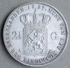The Netherlands – 2½ guilders 1857 Willem III – silver