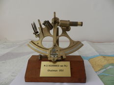 Brass replica sextant mounted on hard wood block  Holland