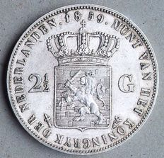 The Netherlands - 2 1/2 guilders 1859 Willem III - Silver