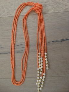 Long 3 row coral necklace, pink/red with cultivated pearls