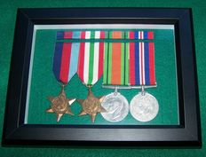 WW2 British Medal Set of Four Framed complete with Ribbon Bar