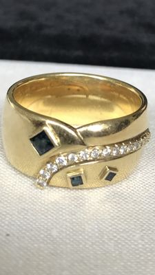 Gold ring with sapphires and diamonds - size EU-RM 66,5