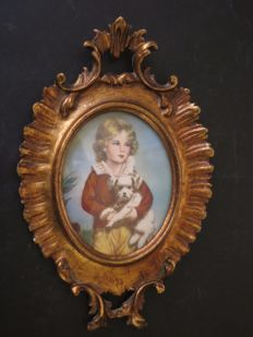 "Portrait miniature after C. Bremont ""Boy with a dog"" - England - 19th century"