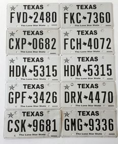 Set of 10 American license plates TEXAS