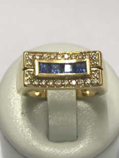 Ring in 18 kt  gold and diamonds of 0.36 ct - Ring size 56 / 17.93 mm