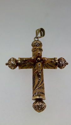 Gold cross and filigree