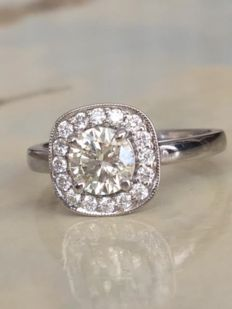 White gold 14 kt, solitaire,  engagement ring with diamonds – approx. 1.02 ct J/F/VS – ring size: 17.00 mm.