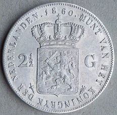 The Netherlands – 2½ guilder coin 1860, Willem III – silver