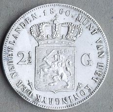 The Netherlands, 2½ guilders, 1860, silver, William III of the Netherlands