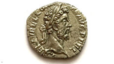 Roman Empire - Commodus. AD 177-192.  AR Denarius/ Jupiter hurling thunderbolt, seven stars Scarce type.