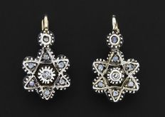 Diamond gold and silver earrings