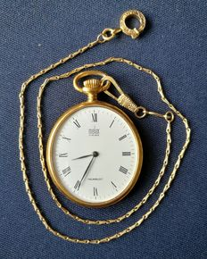 Melux pocket watch – gold-plated – chain in .750 gold
