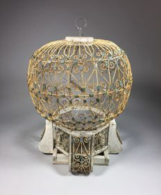 Wooden bird cage with metal plaiting, from the second half of the 20th century