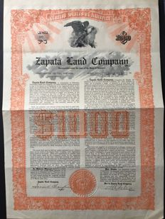 Cuba USA rare shares, seldom shares, Zapata Land Company 1913 Havana. Very few units, bonds, stock, historical securities, non-valeurs, coupons, obligations.