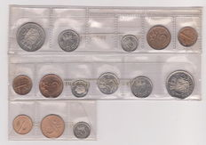 The Netherlands - year packs  1973, 1974 and 1975 in strip of the Royal Mint.