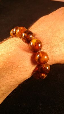 Old Baltic Amber round beads bracelet for man, No reserve, 33 grams