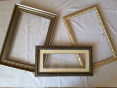 Three painting frames, the Netherlands, France - 1 x baroque style, 2x wooden bronze gilded