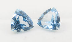 2 (pair) sky blue topazes– 8,46 ct total