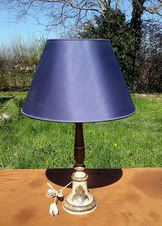 Antique candle holder modified into an electric lamp with a blue shade - Italy, early 19th century