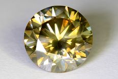 Diamant - 1.75 ct - Fancy Greenish Yellow - SI1 - Zonder reserve prijs